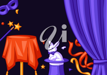 Magician background with magic items. Illusionist show or performance banner. Cartoon style illustration of tricks and sorcery.