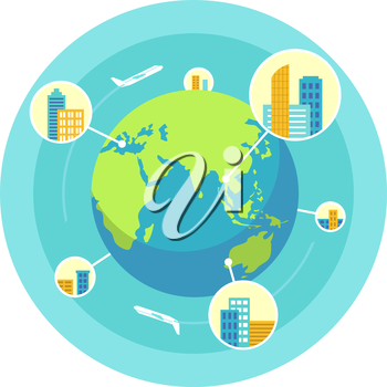Global business design concept in flat style