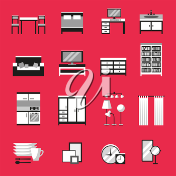 Monochrome furniture icons set on red background. Flat style vector illustration.