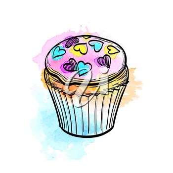 Hand drawn vector illustration of muffin with icing. Watercolor background. Isolated on white.