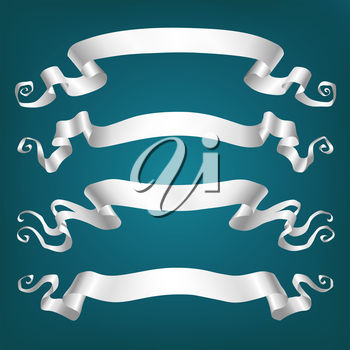 Set of banners. White ribbons on blue background. Vector illustration.