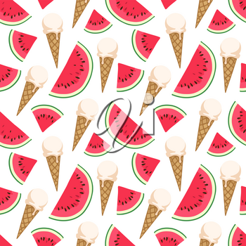 Seamless pattern with ice cream and watermelon. Vector illustration.