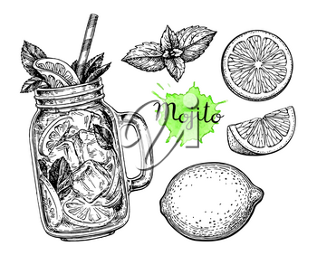 Mojito drink and ingredients. Retro style ink sketch isolated on white background. Hand drawn vector illustration.