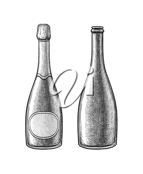 Champagne bottle. Ink sketch isolated on white background. Hand drawn vector illustration. Retro style.