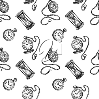 Seamless pattern with clock pocket watch and hourglass. Ink sketch isolated on white background. Hand drawn vector illustration. Retro style.