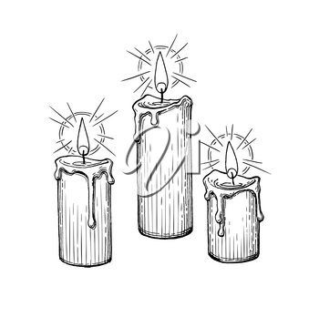 Thick candles burning. Ink sketch isolated on white background. Hand drawn vector illustration. Retro style.