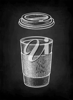 Hot drink in paper cup with lid. Coffee or tea. Chalk sketch mockup on blackboard background. Hand drawn vector illustration. Retro style.