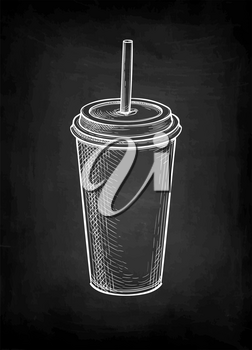 Drink in paper or plastic cup with lid and drinking straw. Milkshake or soda. Chalk sketch mockup on blackboard background. Hand drawn vector illustration. Retro style.