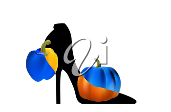 Black elegant high-heeled shoes. The art and fantasy of high fashion.
