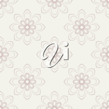 Floral vector oriental pattern with damask, and floral pink elements. Seamless abstract ornament for backgrounds