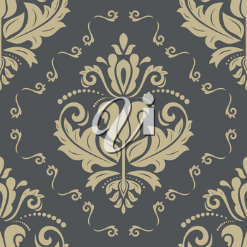 Pattern in the style of baroque. Seamless vector background. Damask texture with orient and floral golden elements