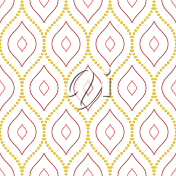 Seamless vector ornament with colored dotted wavy elements. Modern background. Geometric modern pattern