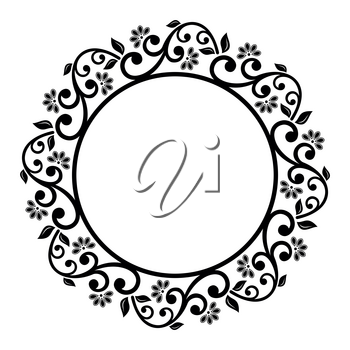Oriental vector round frame with arabesques and floral elements. Floral black and white border with vintage pattern. Greeting card with place for text