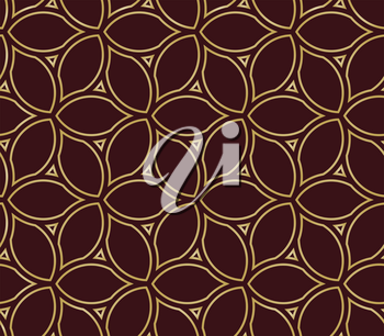 Seamless vector brown and golden ornament. Modern background. Geometric modern pattern