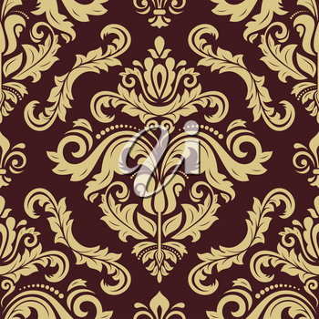 Orient vector classic pattern. Seamless abstract background with vintage elements. Orient brown and golden background