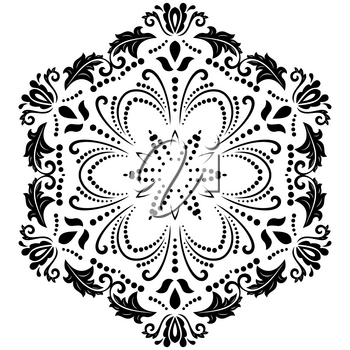 Elegant vector ornament in classic style. Abstract traditional pattern with oriental elements. Classic black and white vintage pattern