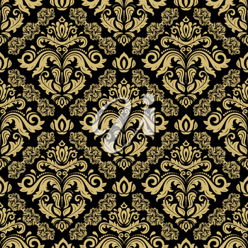 Classic seamless vector black and golden pattern. Damask orient ornament. Classic vintage background. Orient ornament for fabric, wallpaper and packaging