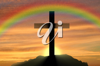 Religion Christianity. Cross silhouette against the sunset and the rainbow