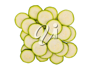 Sliced zucchini vegetable isolated on white background