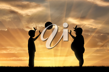 Thick and normal boy and play ball on the background of sunset. obesity concept