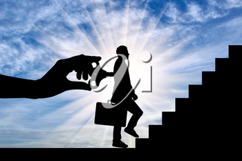 Key in boss's hand, turns working man at steps. Concept of work