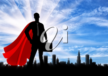 Superman businessman superhero. Silhouette of a confident superman businessman with a briefcase on a city metropolis background at dawn
