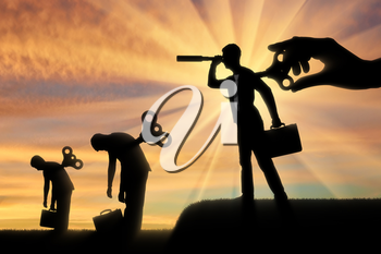 The concept of competition and new ideas in business. Silhouette of a businessman looking through a telescope with a clockwork mechanism at the back on the background of the tired businessmen