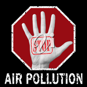 Stop air pollution conceptual illustration. Open hand with the text stop air pollution. Global social problem