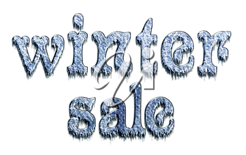 Winter Sale - sign letters of ice with icicles, isolated on a white background.