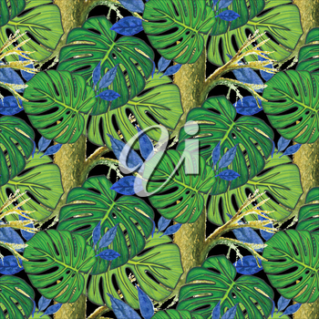 Seamless background. Watercolor trees and monstera leaves, drawn with colored pencils. Black background. Design for card, poster or wallpaper.