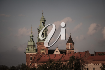 Historic city of Krakow in Poland. Beautiful old Wawel Castle in Krakow. Cultural heritage. 24 April 2018