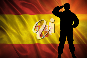 Flag with original proportions. Closeup of grunge flag of Spain