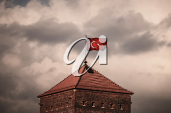 Flag with original proportions. Closeup of grunge flag of Turkey