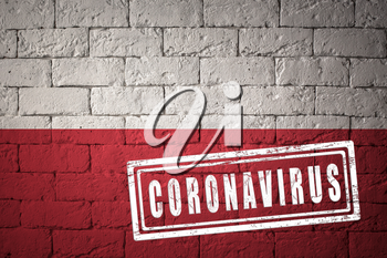 Flag of the Poland with original proportions. stamped of Coronavirus. brick wall texture. Corona virus concept. On the verge of a COVID-19 or 2019-nCoV Pandemic.