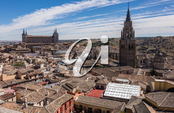 View from tower of Iglesia de San Ildefonso of ancient city of Toledo, Spain, Europe