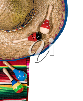 Cinco de Mayo background image on with maracas and sombrero isolated on white layer