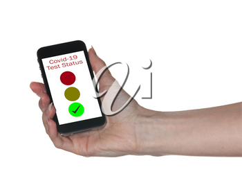 Mockup of hand holding smartphone app showing immunity to coronavirus with red green and yellow lights isolated against white