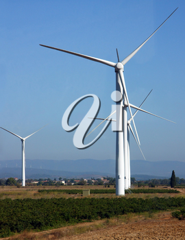 Wind power electricity source. Alternative energy source.
