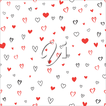 Doodle hearts different shape tile pattern. Love Valentine's day seamless background.