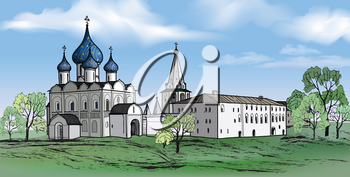 Old russian town landscape with church. Hand drawn sketch vector illustration of Suzdal Kremlin. View of Suzdal cityscape.