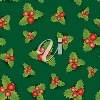 Christmas Seamless Background. Merry Christmas festive endless pattern with berry