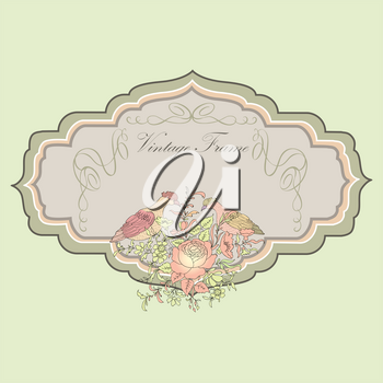 Frame. Floral spring card. Birds and  flowers vintage label or banner for pack design.