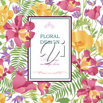 Floral background. Flower bouquet cover. Flourish pattern for greeting card design