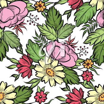 Floral seamless pattern. Flower background. Floral tile spring texture with flowers Ornamental flourish garden cover for card design