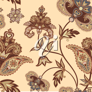 Flourish tiled pattern. Floral retro background. Curved tree branch with fantastic flowers, leaves. Wonderland motives of the paintings of ancient Indian fabric patterns.
