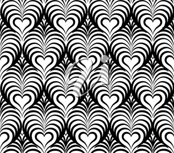 Abstract floral seamless pattern with black and white line heart shape ornament Swirl geometric doodle texture. Ornamental wave optical effect background.
