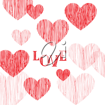 Love pattern. Happy Valentines day card. Love heart pencil sketch background. Valentine's day greeting card design