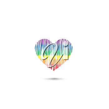 Love heart card  in lgbt colors. Pencil draweing sketch heart icon isolated over white background