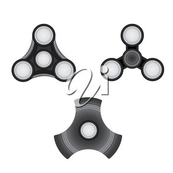 Fidget Spinner set. Morden stress relieving toy icon.