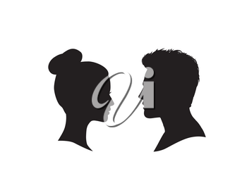Couple faces silhouette. Man and woman profile over white background.